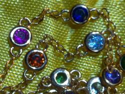 Színes drágaköves aranyozott gyűrű és karkötő egyben arany gyönyörű különleges