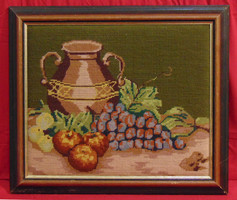 """""""Gyümölcsök antik vázával"""" - gobelin csendélet a 70-80-as évekből"""