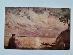 Régi képeslap 1919 szerelmespár a tengerparton levelezőlap