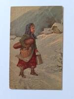 Régi képeslap 1918 Degi Gemälde téli vidéki életkép