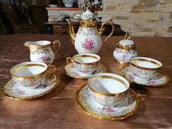 Bavaria 22 karátos aranyozott porcelán 4 személyes kávés készlet 11 részes