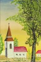 1D009 Keretezett akvarell festmény : Kisvárosi templom