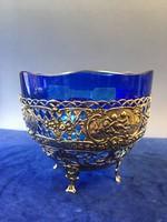 Ezüst bonboniér kék üveggel