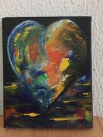 Horváth Ágota: Csupaszín szív - Colorful Heart, modern absztrakt festmény a művésztől