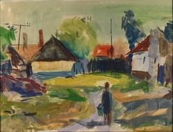 1C996 XX. századi magyar festő : Falusi utca 50 x 70 cm
