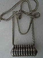 Szépséges antik ezüst vastag lánc JUDAIKA? különleges ezüstmedállal  1867 előtti jelzés