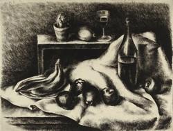 """1C995 Kiss Terézia : """"Csendélet banánnal"""" 1967 43 x 61.5 cm"""