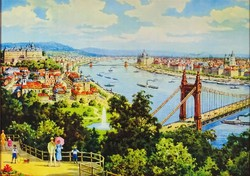1D006 Keretezett Budapest látkép korabeli színes nyomat