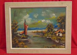 Vitorlás az öbölben, 1977 - 'Müller' szignóval ellátott gyönyörű olajfestmény