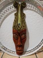 Afrikai fej, Mázas kerámia, jelzett,  30 cm