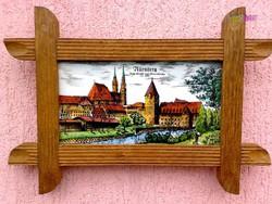 Kerámia táblára festett falikép páros, Nürnberg látképeivel, rusztikus dekoráció