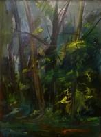 Dulity Tibor: Erdei fények (olaj-farost) 67,5x49.5 cm