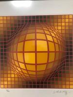 """Victor Vasarely (Vásárhelyi Győző 1906-1997)  """"Abstract-Saphere II./Absztrakt gömbII.Eredeti szita!"""
