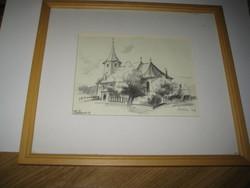 Tatrang  /  Hétfalu , Erdély  Brassó megye  /  grafika  Szász 04  szignó  ,30 x 26 cm