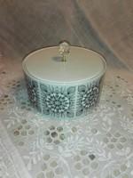 Csodás új, vékony porcelán,fekete mandalás sütis tároló,kínáló,asztalközép.