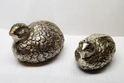 Fürj pár ezüstözött fűszerszóró. Egyedi konyhai dekoráció.