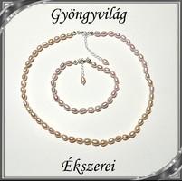 Édesvizi igazgyöngy nyaklánc-karkötő szett, 925-ös ezüst kapoccsal SSZE-IG01 mauve