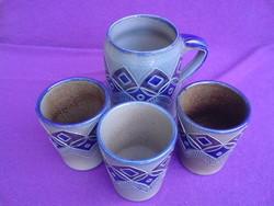Négy darabos kerámia boros készlet