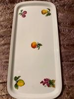 Retro Alföldi porcelán, gyümölcs mintás, porcelán süteményes tálca, pótlás céljából