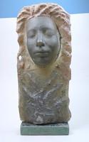 Budveszel Gyula - Alvó leány - üveg relief