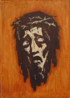 'Jézus töviskoszorúval', 1949 - Németországból származó vallási jelenet ábrázolás, 53 x 40 cm