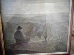Wallner Jenő olaj,pasztell kép