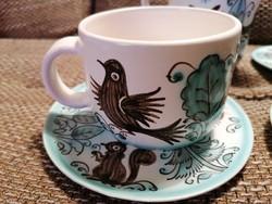 Modranska kézzel készített és festett, rendkívül hangulatos és bájos kerámia kávéskészlet!