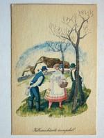 HÚSVÉTI ÜDVÖZLET POST CARD, KÉPESLAP 1963 (9X14 CM) EREDETI