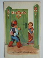 HÚSVÉTI ÜDVÖZLET POST CARD, KÉPESLAP 1948 (9X14 CM) EREDETI