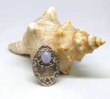 Faragott tibeti ezüst lila sávos achát köves medál