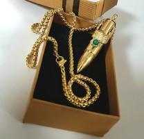Férfi nemesacél arany (rodiomozott) láncon töltényes sasos nyaklánc