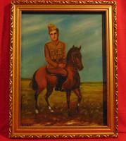 Túrai L.: 'Katona lovon' - lovas jelenetet ábrázoló naiv festmény GYÖNYÖRŰ KERETBEN, 66 x 52 cm