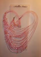 Rózsaszín gyöngyös flitteres nyaklánc fülbevaló új szett
