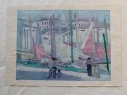 Nagy nyomat 1969 -ből  -  Vaszary János: Piranoi halászbárkák