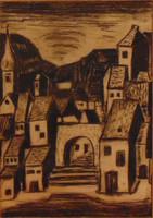'Kisváros', 1973 - magyar művész szignójával ellátott  igényes grafika paszpartuzva, 50 x 36 cm