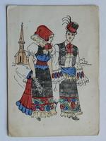 KÉZZEL FESTETT MATYÓ POST CARD, KÉPESLAP 1930 KÖRÜL (10X14 CM) EREDETI