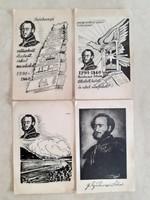 Régi képeslap Széchenyi emlék-levelezőlap 4 db