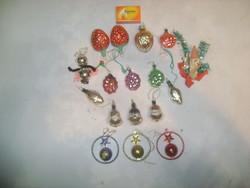 Régi karácsonyfa dísz - tizenhét darab - hal, télapó, pillangó, csengő, eper, dió,...