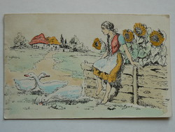KÉZZEL FESTETT POST CARD, KÉPESLAP 1937 (9X14 CM) EREDETI