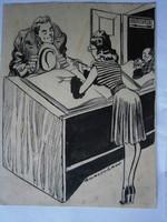 Korcsmáros Pál eredeti karikatúra 18x14 cm