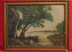 'Horgász a tavon' - olaj-vászon festmény a 30-as évekből korának megfelelő állapotú keretben