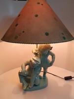 NAGY MÉRETŰ!!! Art-deco Komlós páros figurális kerámia asztali lámpa eredeti ernyővel 63 cm