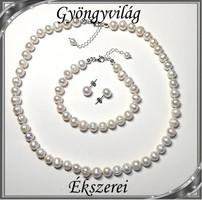 Édesvizi igazgyöngy szett, 925-ös ezüst kapoccsal SSZE-IG01 white