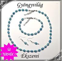 Édesvizi igazgyöngy-swarovski szett, ezüstözött kapoccsal SSZEB-IG04 7,5x6 kék