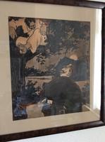 Bér Dezső (1875-1924): Éjszakai razzia. Akvarell-tus, papír, jelzett, foltos, üvegezett keretben, 30