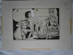 Gugi Sándor 4 rajz, megjelent a Világ Ifjúsága c. újságban 29x21 cm