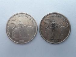 Szerbia 5 Dínár 2003 2db - Srbije Dinara pénzérme