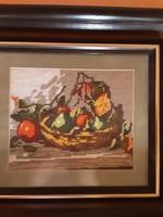 Goblein kép, gyümölcskosár igényes keretben - csendélet