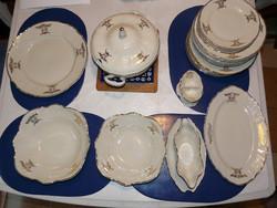Bohémia cseh 23 darabos, 6 személyes aranydíszítésű porcelán étkészlet eladó