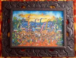 Asian Indonesian painting ketut soki barong original Balinese naive painting in ornate wooden frame